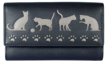 Poppy - Cats  Leather Purse - Black