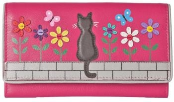 Black Cat & Flowers - Cats  Leather Purse - Pink (Zorro)