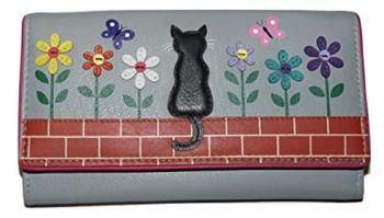 Black Cat & Flowers - Cats  Leather Purse - Grey (Zorro)