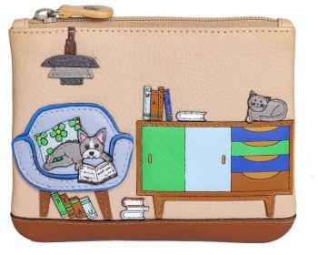 Cat & Dog Lounging Leather Coin & Card Purse