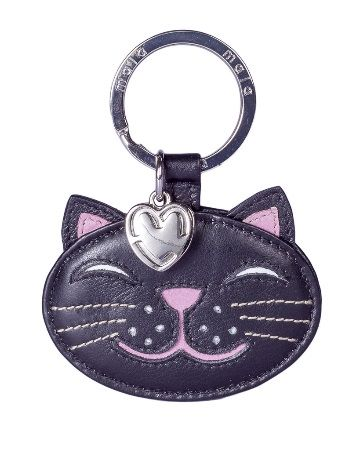 Leather Cat Keyring - Rosie Black cat