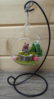 Littl Fox in Glass Globe & Stand