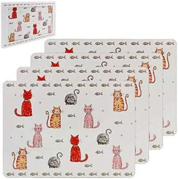 Faithful Friends,  Set Of 4  Cat Placemats