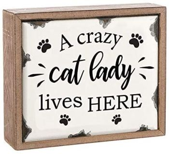 A Crazy Cat Lady Lives Here - Wood and Enamel Wall Plaque Sign