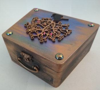 Black Cat & Tree - Wooden Case Box (Bronze Effect)