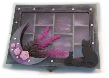 Lavender Moon, Rose & Black Cat Trinket/Jewellery Box