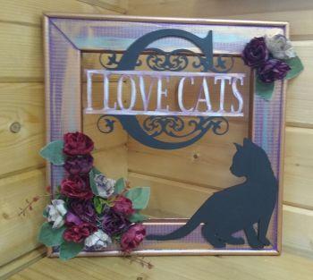 Black Cat - I Love Cats - 3D Floral Frame