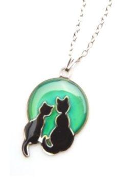 Colour Change Mood Cat Necklace - Cat Couple (Circle)