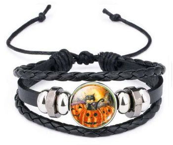 Leather Bracelet - Cat & Pumpkin WAS £6.99