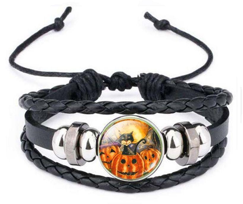Leather Bracelet - Cat & Pumpkin