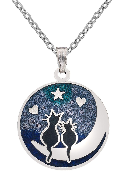 Sea Gems - Black Cats & Moon Necklace