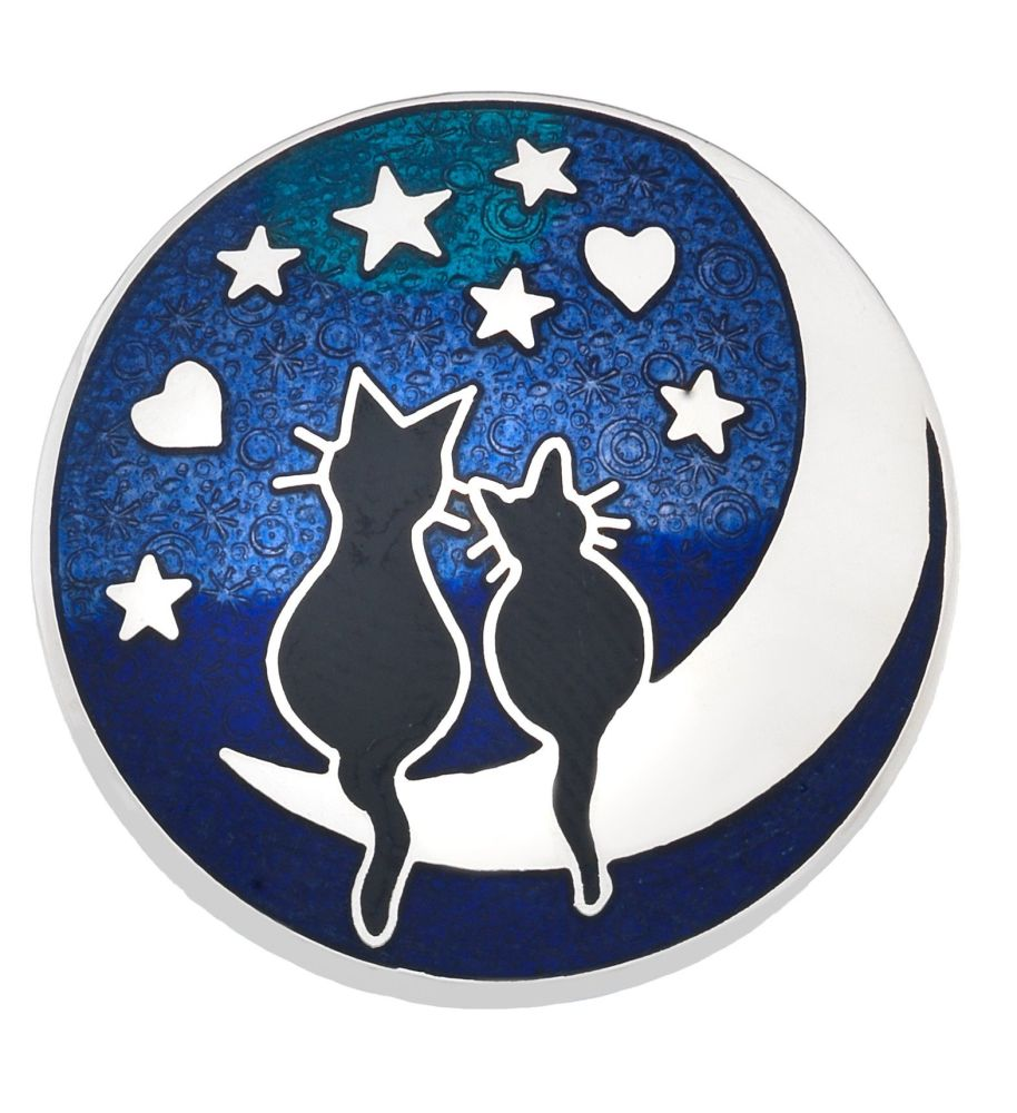 Sea Gems - Black Cats & Moon Brooch