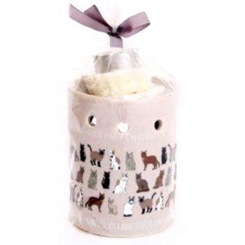 Ceramic Cat Oil Burner - 3 wax Melts 1 Tea Light Candle