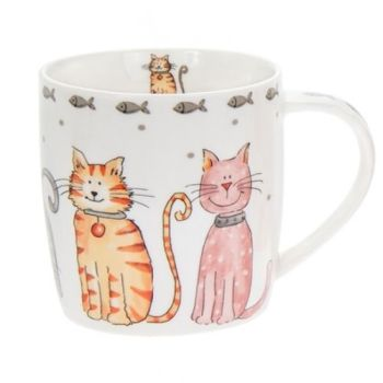 Faithful Friends Cat Design Ceramic Mug - Large Cats