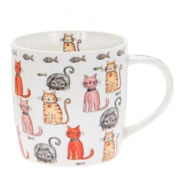 Faithful Friends Cat Design Ceramic Mug - Multi Cats
