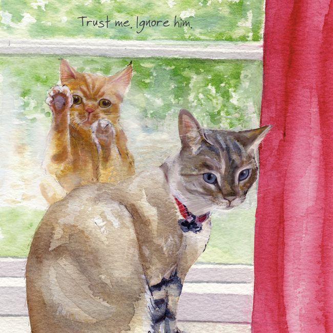 Happy Cat Greeting Card – Trust Me Ignore Him