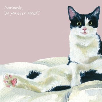 Happy Cat Greeting Card – Do You Knock?