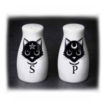 Cat Face Salt & Pepper Pots - Cat Cruet Set