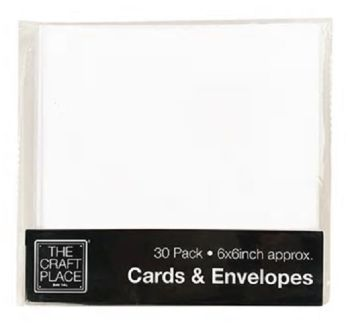 30 White Cards and Envelopes - 6 x 6 Inches