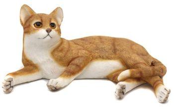 Lying Cat - Ginger & White Cat Figurine