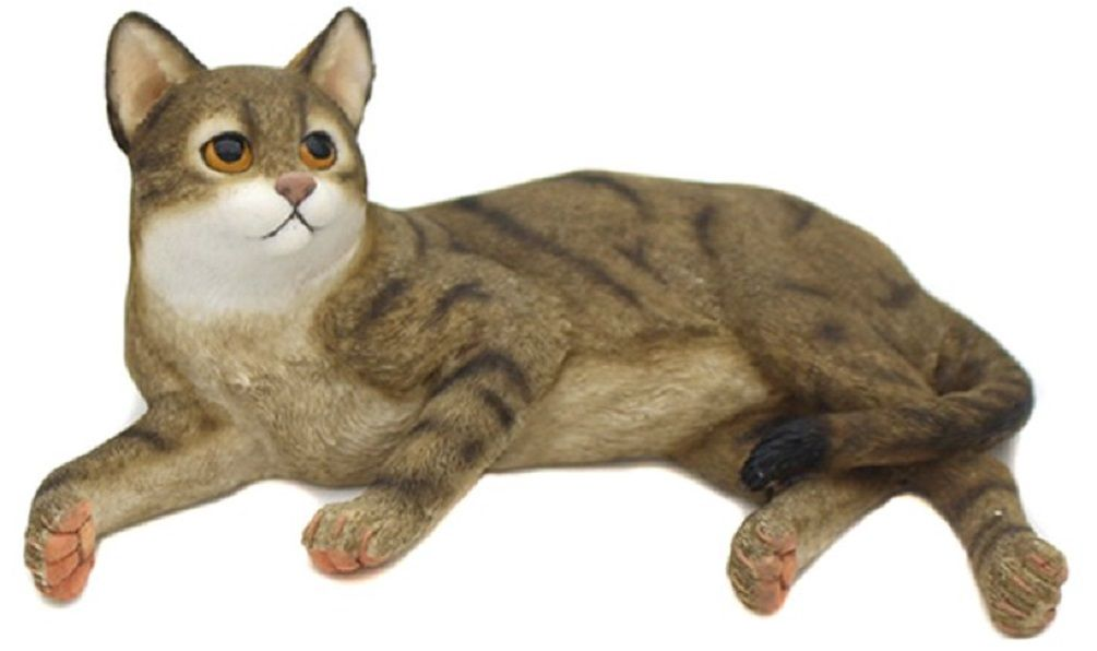 Lying Cat - Tabby & White Cat Figurine