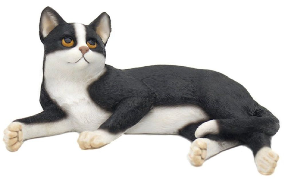 Lying Cat - Black & White Cat Figurine - DUE SOON