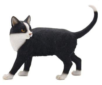 Walking Cat - Black & White Cat Figurine