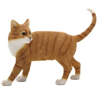 Walking Cat - Ginger & White Cat Figurine