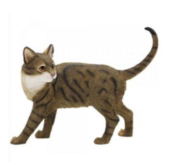 Walking Cat - Tabby & White Cat Figurine