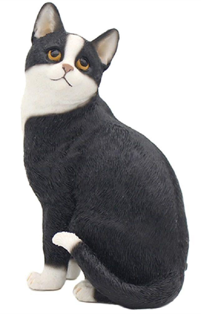 Sitting Cat - Black & White Cat Figurine