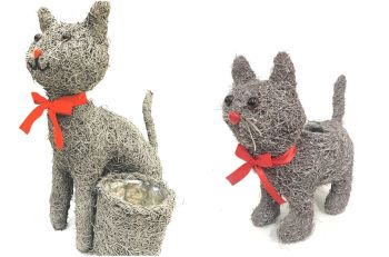 SPECIAL OFFER - set of 2 brushwood cat planters - WAS £24.99