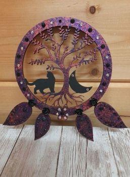 Black Cat Tree - Dream Catcher Cat & Moon - Red Copper/Purple