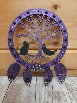 Black Cat Tree - Dream Catcher Cat & Moon - Purple Shades