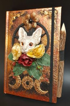 Red & Gold A5 Note Book & Carved Wood Pencil -  Sphinx Cat
