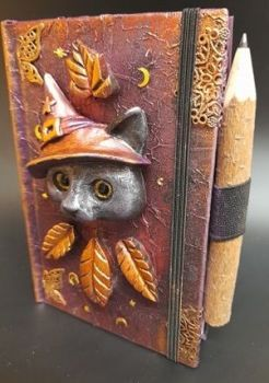 A6 Note Book & Carved Wood Pencil - Gold Leaves Witches Cat