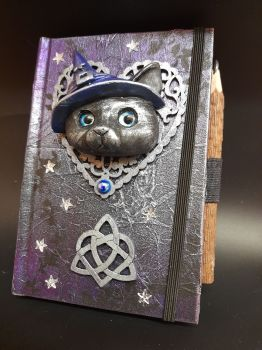 A6 Note Book & Carved Wood Pencil - Blue & Purple Witches Cat