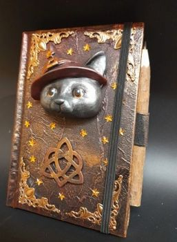 A6 Note Book & Carved Wood Pencil - Red & Gold Witches Cat