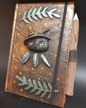 Purple A5 Note Book & Carved Wooden Pencil - Green & Gold Witches Cat