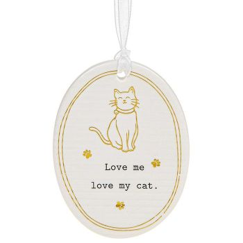 Ceramic - Love Me Love My Cat Hanging Sign