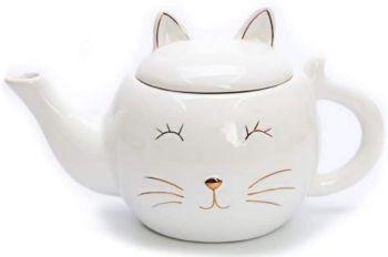 Glossy White Cat Face Tea Pot