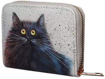 Kim Haskins Cat Zip Around Small Wallet Purse (Black & White)