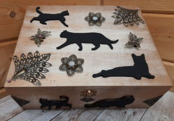 Large Wooden Black Cat Box - Black Cats