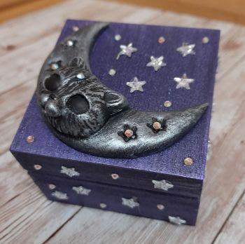 Small Wooden Trinket Box - Blue Moon Cat