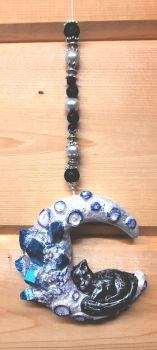 Black Cat Sleeping On Moon Hanging Ornament - Blue