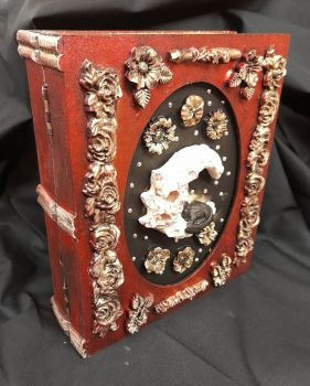 Cat On Moon - Red & Gold- Book Storage Box