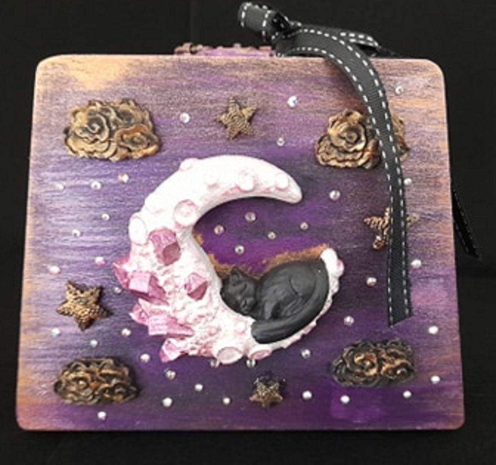 Sleeping Cat On Moon Wooden Case Box