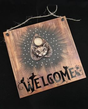 Cat Planchette Welcome Sign WAS £13.50