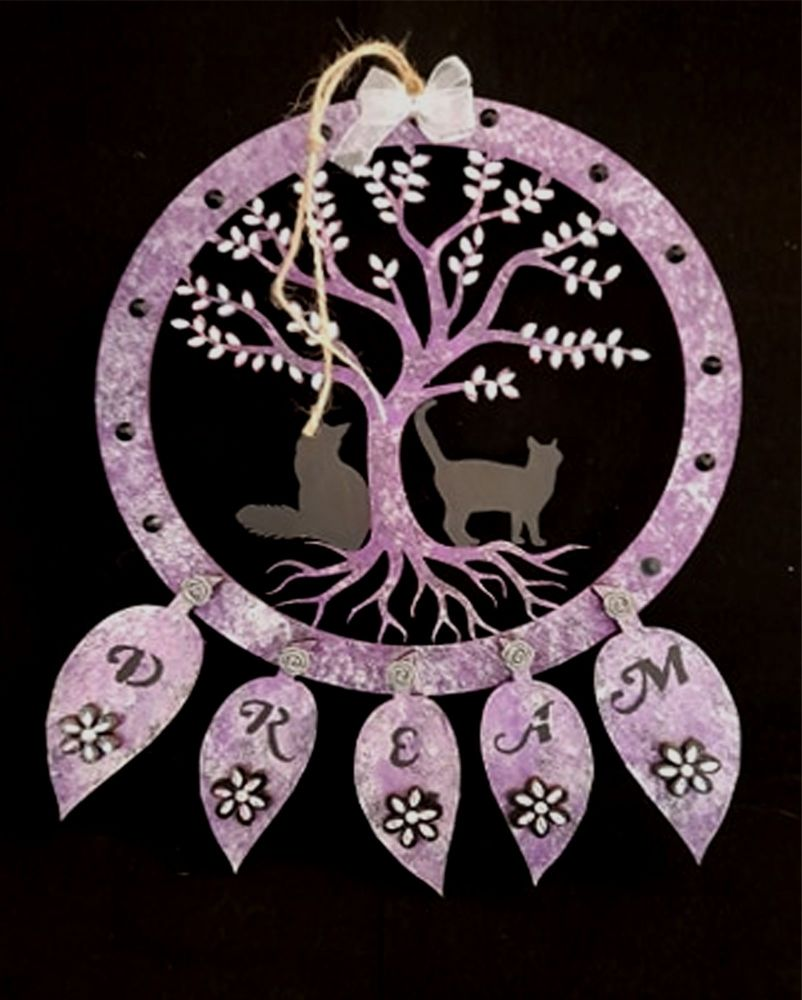 Large Black Cat Dreamcatcher - Tree & 2 Sitting Cats - CMDDC-05