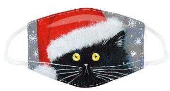 Kim Haskins Christmas Black Cat Reusable Face Covering - Large