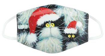 Kim Haskins Christmas Cats Reusable Face Covering - Large